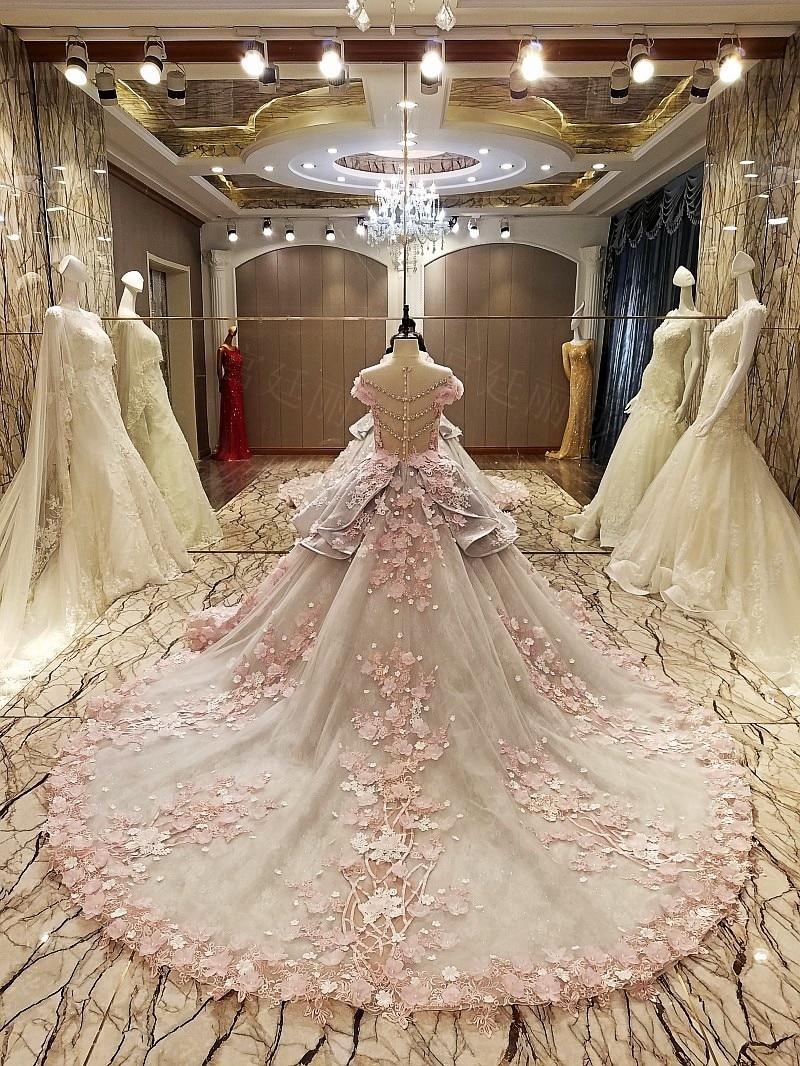 us $616.63 53% off|ls83920 evening gown zipper back beaded organza ball  gown long evening dress abendkleider lang pink flowers grey robe de