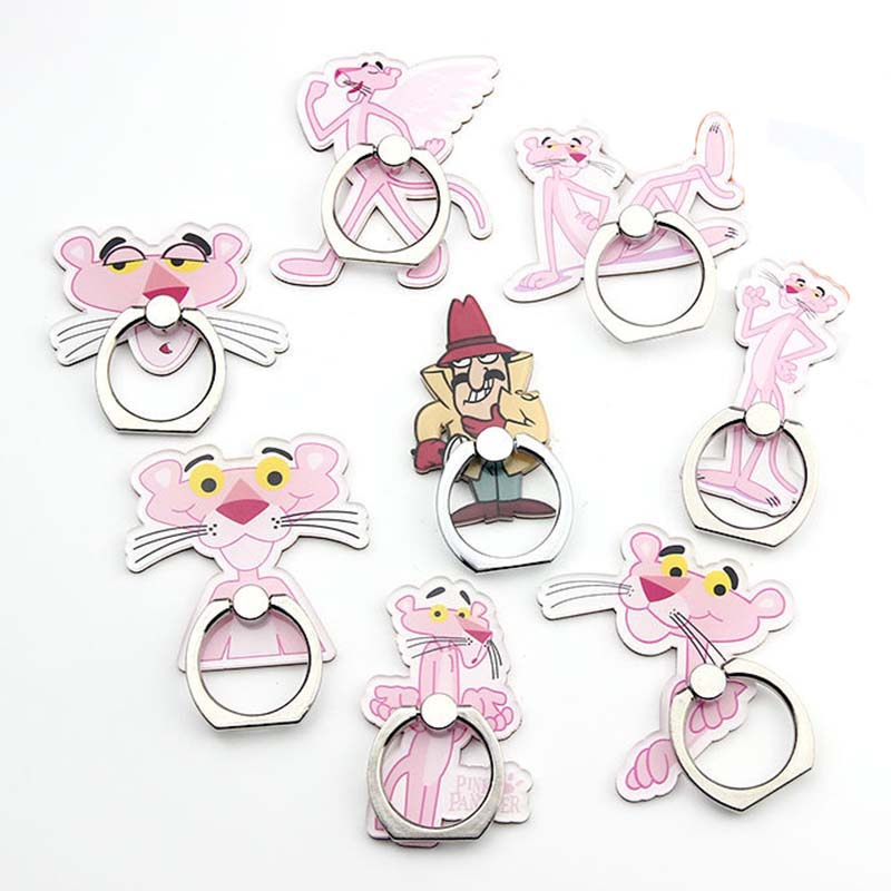 Cartoon Character Pink Panther Phone Holder Ring Mobile Phone Stand Rotate 360 Degrees  Finger Phone Ring Holder Support Celular