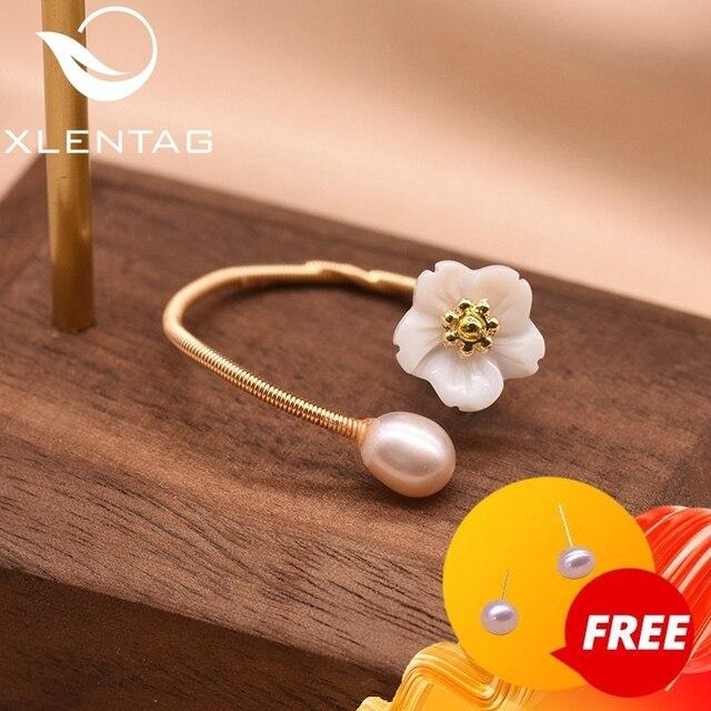 Xlentag pérola de água doce concha natural flor branca para as mulheres anel melhor amigo casamento presente noivado jóias finas gr0247