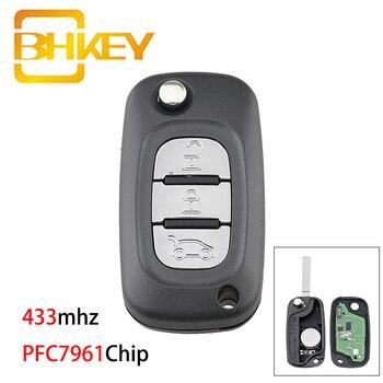 цена на BHKEY for Renault Key PFC7961Chip Car Remote Key for Renault Megane III 3 / Scenic III 3 / Fluence 2009-2015 433mhz