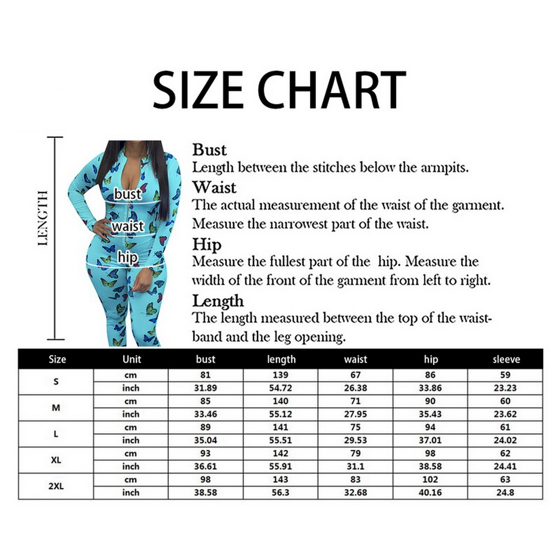 Women jumpsuit Butterfly Print Sexy Long Sleeve Bodycon Front Zipper Clubwear Rompers