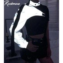 Rockmore Neon Green Reflective T Shirt Women Tshirt Harajuku One Shoulder Off Gothic Top Hip Hop Streetwear Tee Shirt Femme Fall