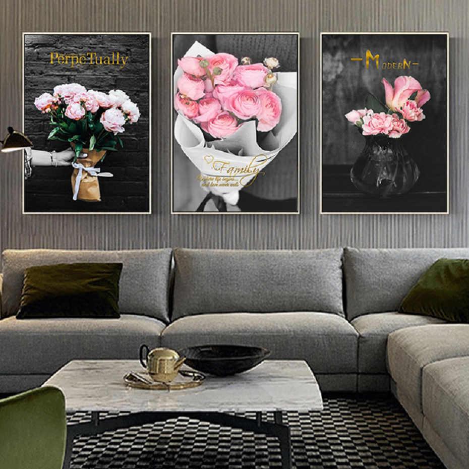 זהב מודרני ורוד רוז פרחי קיר אמנות בד ציורי שחור ולבן קיר אמנות וכרזות סלון בית דקור
