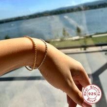 Aide 925 стерлингового серебра витая Цепочка браслеты минимализм