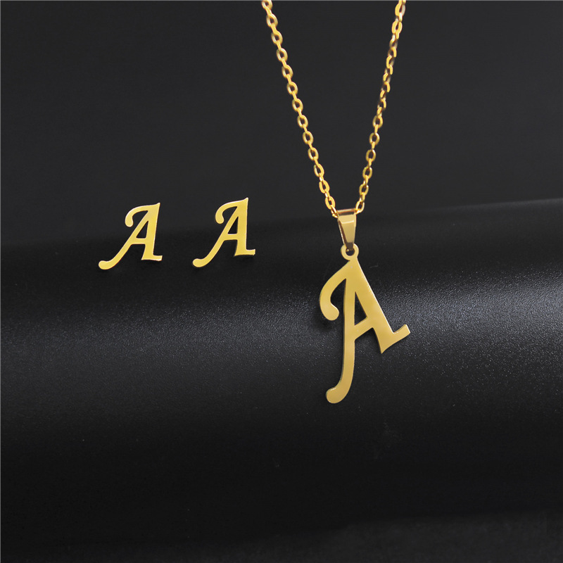 Women's Initials Letter Necklace Earrings Set Dubai Gold Color Stainless Steel African Indian Wedding Jewelry Sets for Women