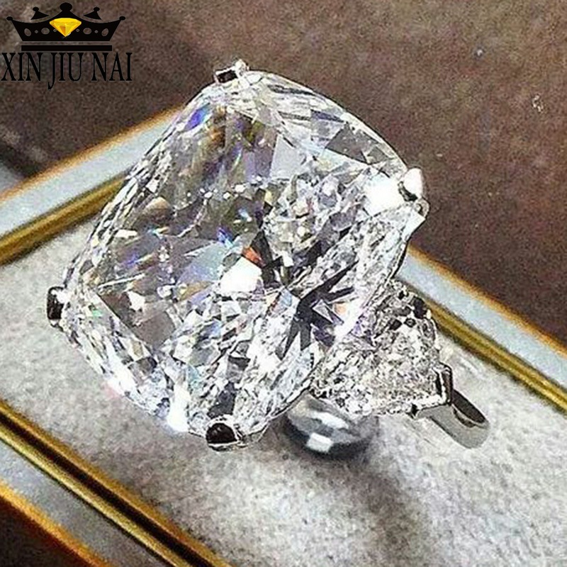 AAA Advanced Zircon White Crystal Ring, Square Geometry Luxury Female Dinner/Engagement/Party Anniversary, Anniversary Ring 6-10