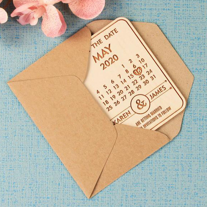 Rustic with Envelope Wooden Magnet Wedding Save the Date Laser Engraved Names Bride and Groom Engagement Bespoke