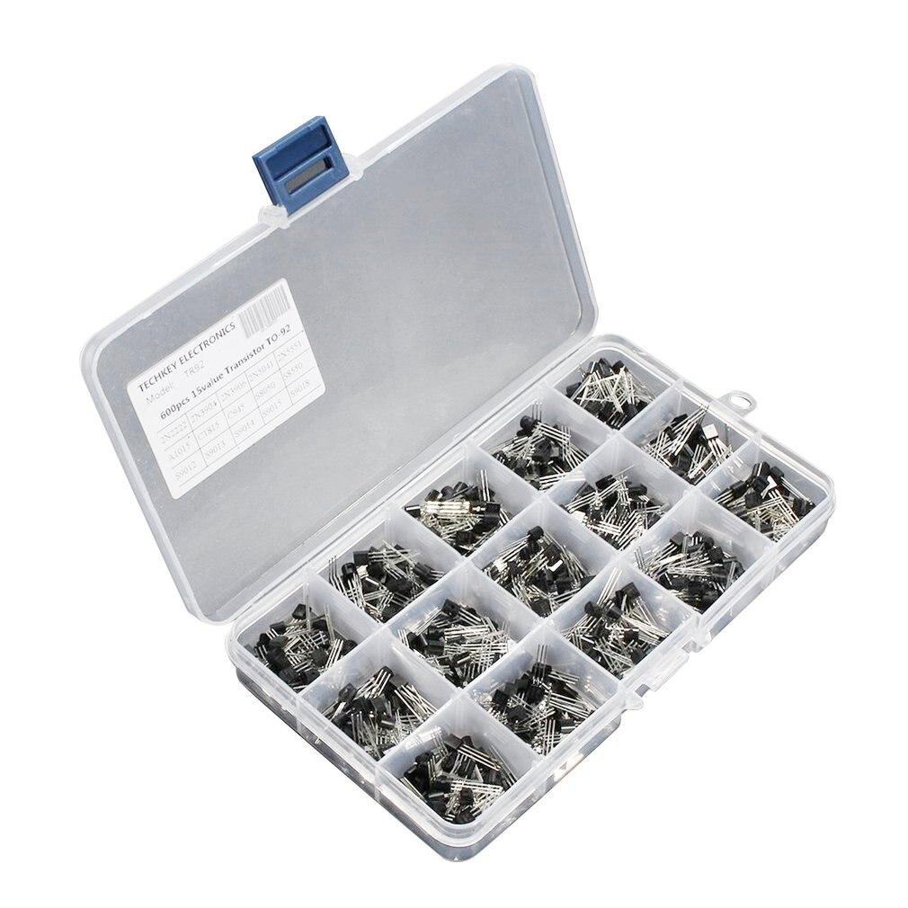 600Pcs TO-92 Transistor Assortment Box Kit 15 Value x 40 Pcs Transistors 2N2222 2N3904 2N3906 C945 S8050 S8550 S9014 S9013 thumbnail