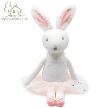 Luxury White Fat Bunny Plush with Pink Tutu Baby Sleep Cuddle Toys Lovely Snuggly Ballerina Bunny Doll Princess Bunny Doll