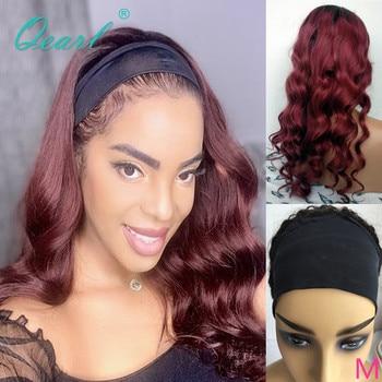 BURGUNDY Ombre Human Hair Wig 99j Headband Wigs Full Machine Brazilian Wavy Remy Glueless for Women 150% Qearl