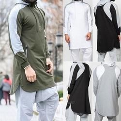 Новый мужской jubba tobe мусульманский, Арабский исламский одежда платье Дубая Зима с длинным рукавом сшивание Саудовской Аравии свитер