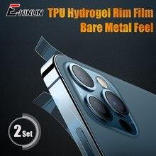 2 jogos/lote fosco claro telefone filme lateral para o iphone 12 pro max mini borda quadro etiqueta aro película de fibra carbono protetora hidrogel