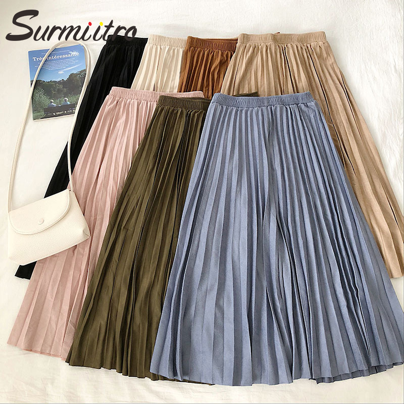 Surmiitro Velvet Pleated Midi Skirt Women 2020 Spring Autumn Ladies Korean A Line Pink Blue Black Skirt Female With High Waist|Skirts|   - AliExpress