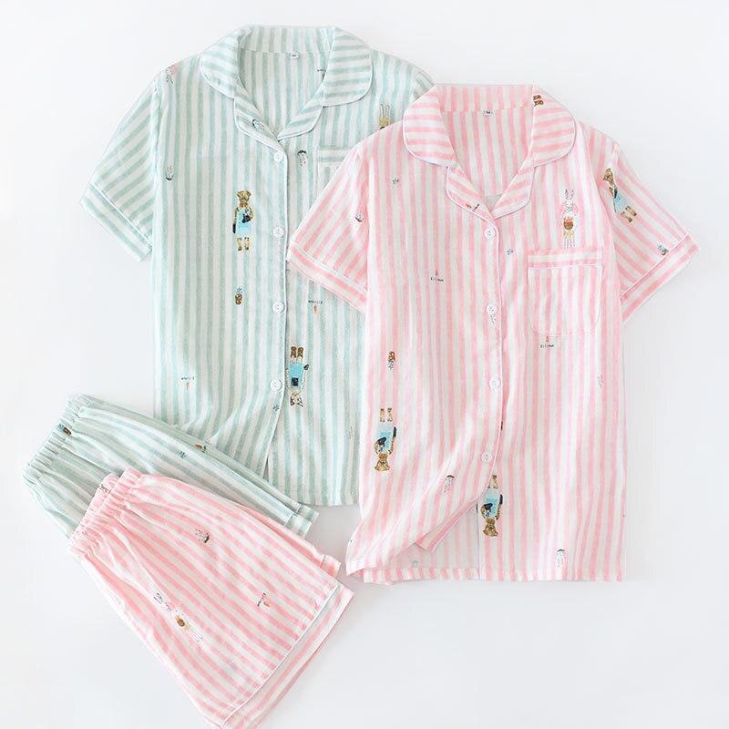 Summer Women's Pure Cotton Double Layer Gauze Pajamas Suit Thin Short Sleeve Shorts Tracksuit Cotton Pajamas
