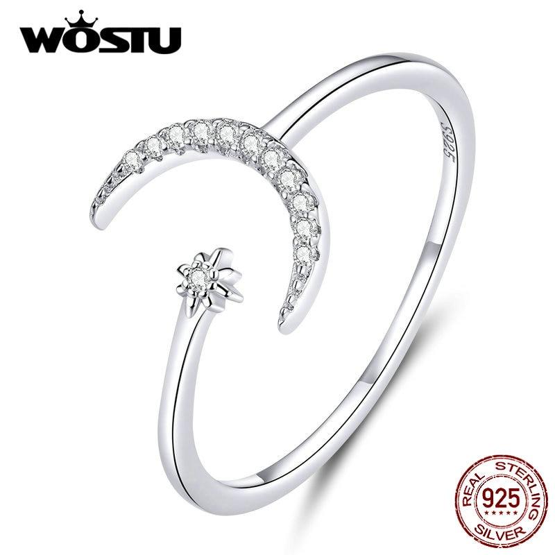 WOSTU Real 925 Sterling Silver Moon Wedding Opening Rings For Women Dazzling Zircon Adjustable Rings Fine Jewelry Gift BKR569