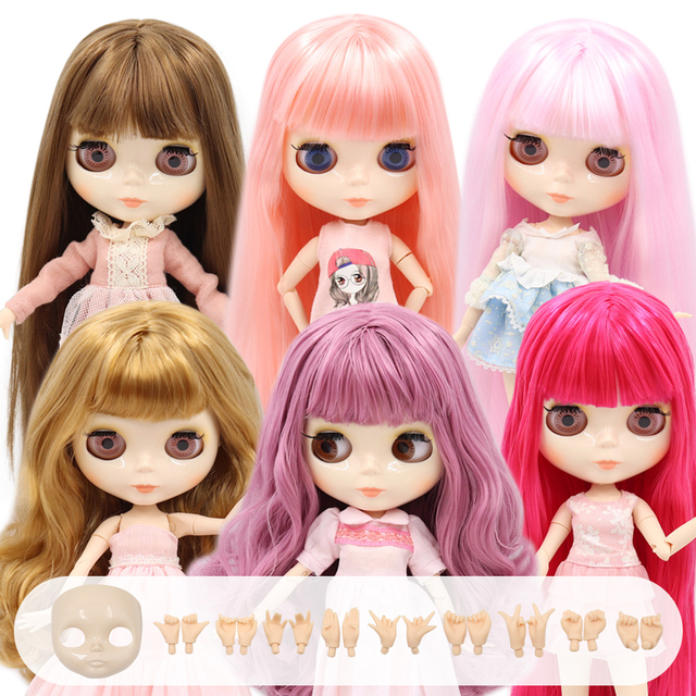 ICY Blyth Doll Nude Joint Body 30CM BJD toys white shiny face with extra hands AB and  faceplate 1/6 DIY Fashion Dolls girl gift