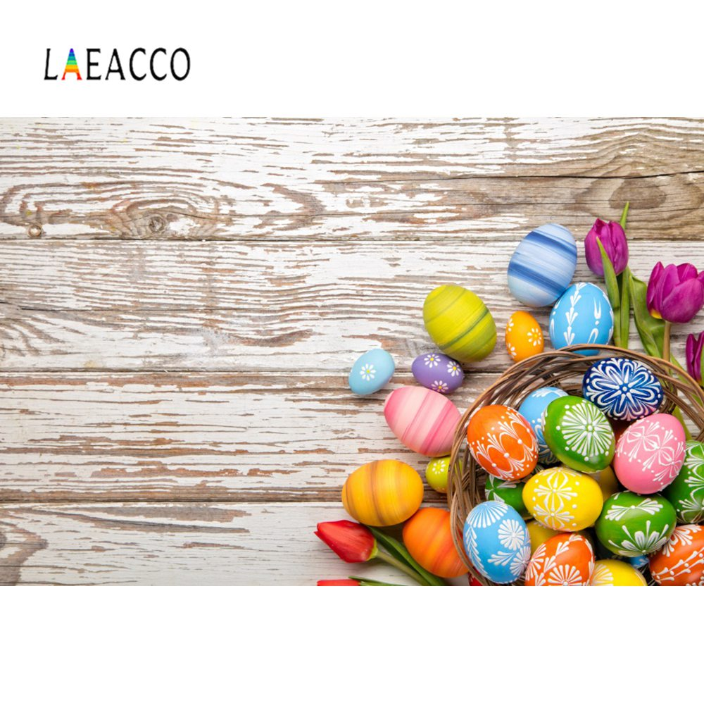 Laeacco Easter Eggs Wooden Boards Scene Photography Backgrounds Customized Digital Photographic Backdrops For Photo Studio
