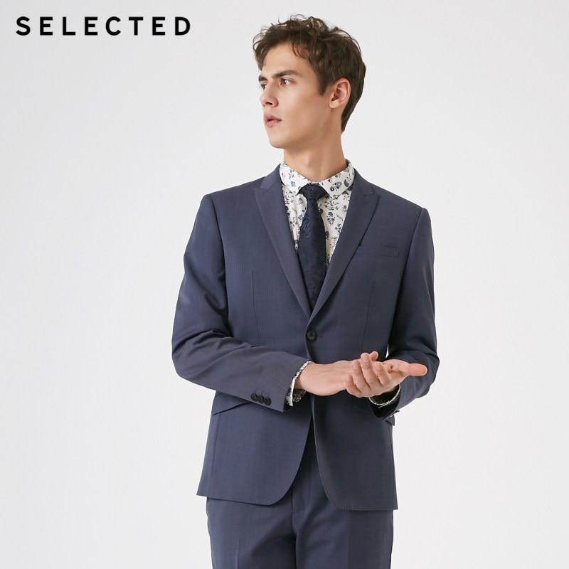 SELECTED Men's Wool Closure Collar Business Regular Fit Woolen Blazer T | 41915Y507
