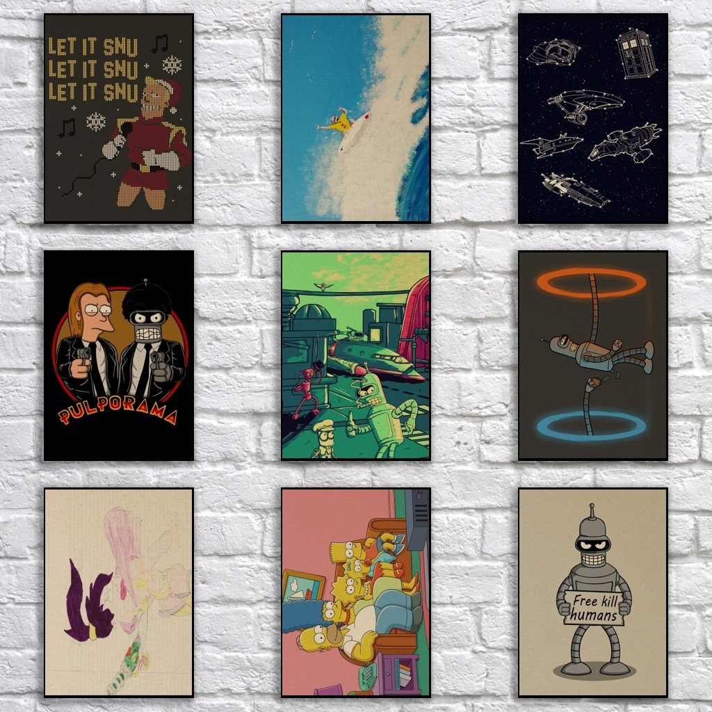 Comic Futurama Kraftpaper Poster Cartoon Painting Funny Art Wall Sticker For Coffee House Bar