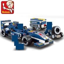 Sluban  M38-B0351 196 pcs/set 1:32 Blue F1 racing car Building Blocks 3d puzzle Children educational Assembling toys rc cars sluban m38 b0172 городская серия гоночный автомобиль f1