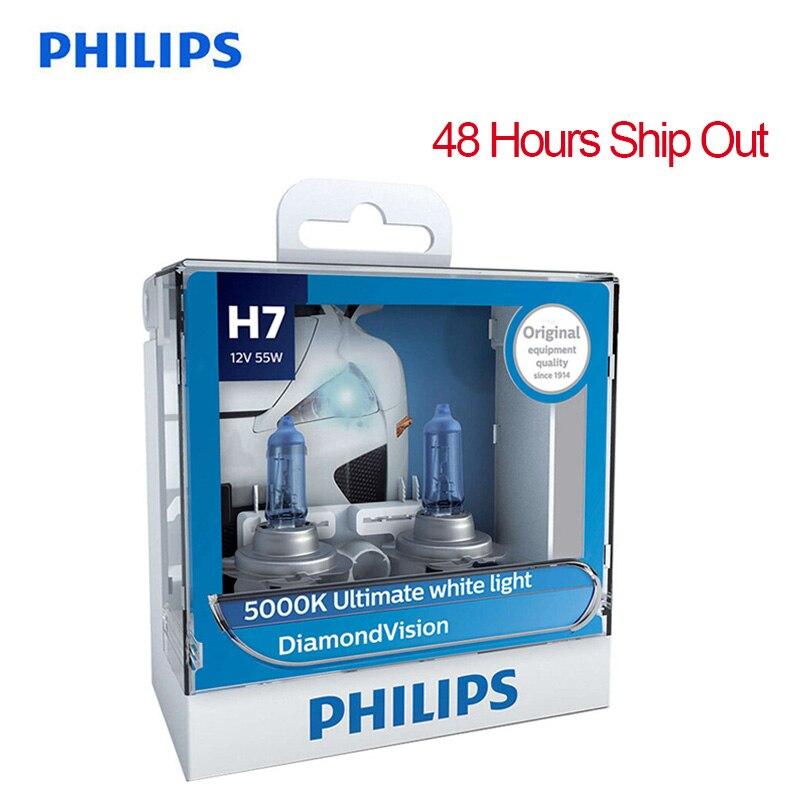 Philips H7 12V 55W PX26d Diamond Vision 5000K Super White Light Halogen Bulbs Auto Headlight 100% Original 12972DV S2, Pair