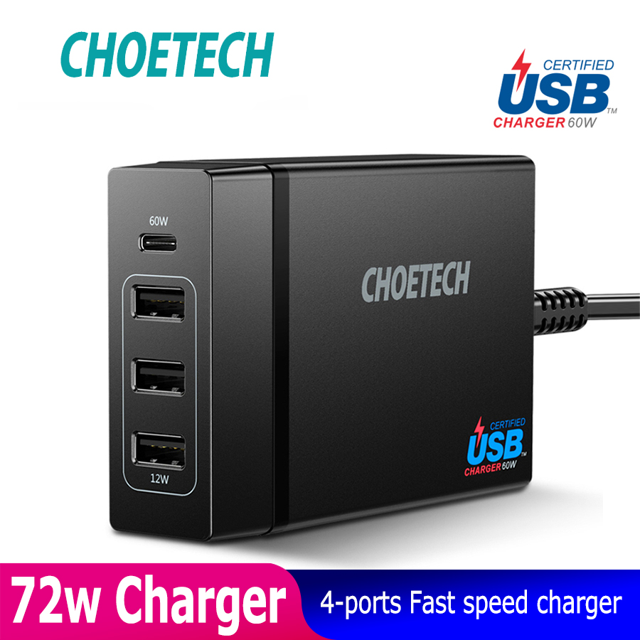 CHOETECH 72W 4 Port USB Type C Desktop Charger Station with Power Delivery For iPhone X