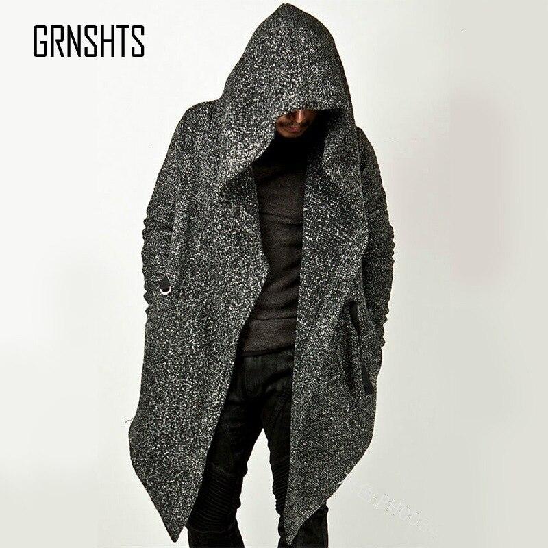 Men Windbreaker Hoodied Hat Irregular Pocket Solid Color Loose Long Sleeve Coat Long Tops Sashes Jacket L