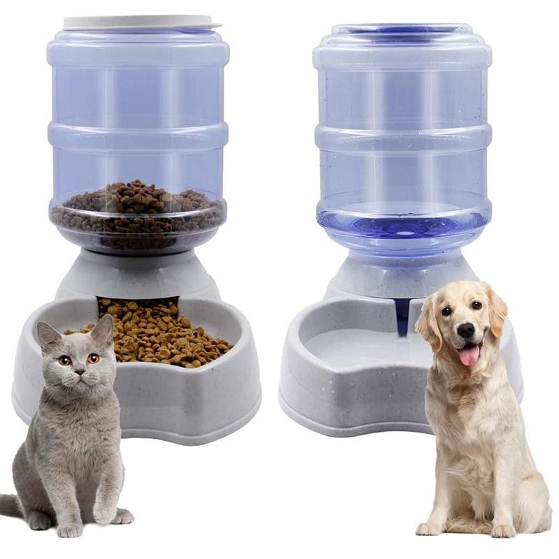 Dispenser di acqua per animali domestici a gravità da 3,8 litri gatto alimentatore automatico bottiglia di acqua per cani in plastica Dispenser di acqua per alimenti ciotola per alimenti per cani gatto 1