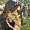 Neue Candy Farbe Haar Hoop Kunststoff Matt Haarband Mit Kette Frauen Einfache Mode Stirnbänder Mädchen Pferdeschwanz Haar Zubehör