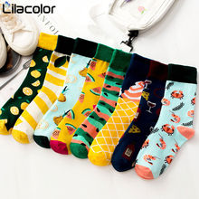Woman socks Snack pattern Harajuku happy socks funny combed cotton dress casual Casual colorful novelty skateboard socks women