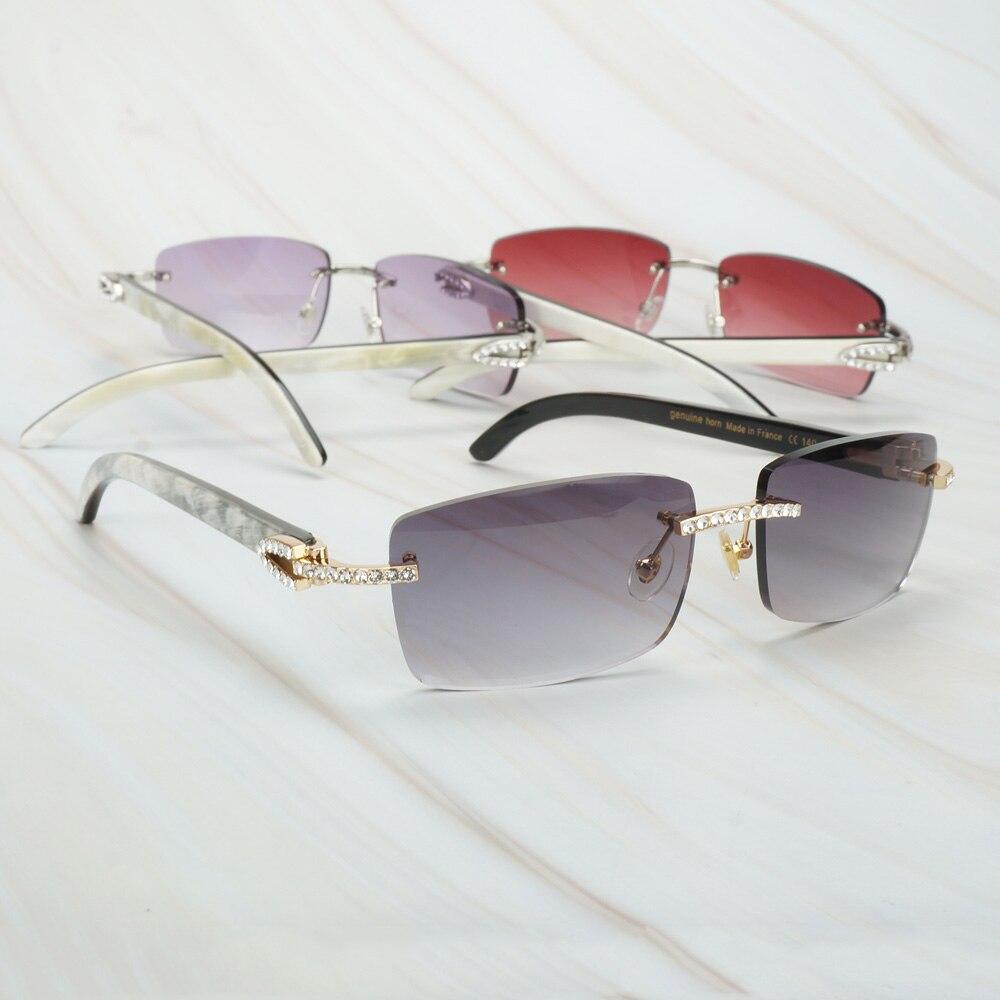 Lunettes de soleil en corne de buffle noir de mélange blanc de luxe pour hommes lunettes de soleil pour femmes