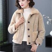 Fur Coat Lamb Fur Women Thick Warm Jackets White Camel Fashion Fluffy Style Overcoats 2019 Winter Autumn New Street Outerwear