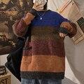 Winter Dicke Pullover Männer Warme Mode Kontrast Farbe Oansatz Pullover Pullover Männer Streetwear Lose Beiläufige Männlichen Sweter Kleidung