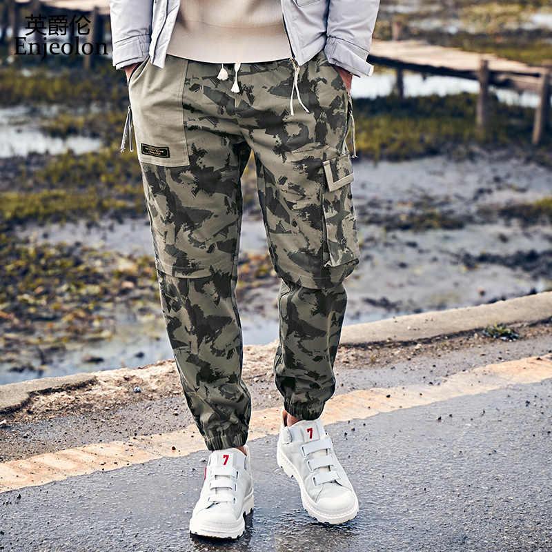 Enjeolon Camo Joggers Hombres Pantalones Cargo Hombres Ejercito Verde Militar Camuflaje Pantalones Algodon Cargo Pantalones Bolsillo Streetwear Kz6741 Pantalones Deportivos Aliexpress