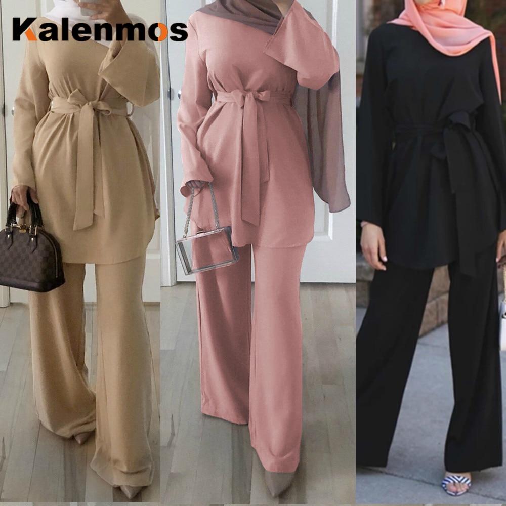 2pecs Set Blouse Wide Leg Pants Women Dubai Muslim Abaya Lace-up Solid Ropa De Mujer Kaftan UAE Islamic Clothing Turkey African