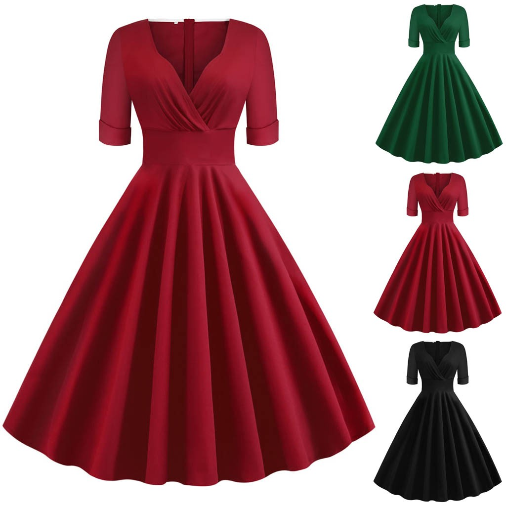 ropa mujer sukienki plus size dress women Half Sleeve Solid Simple Vintage Holiday Party Formal winter dress vestidos robe femme