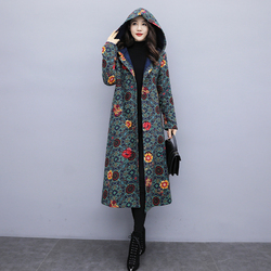 Fall and Winter 2019 Cotton and Hemp Plush Thickening Thermal Cotton Clothes and Hat Flowers Mid-long windbreak wind coat