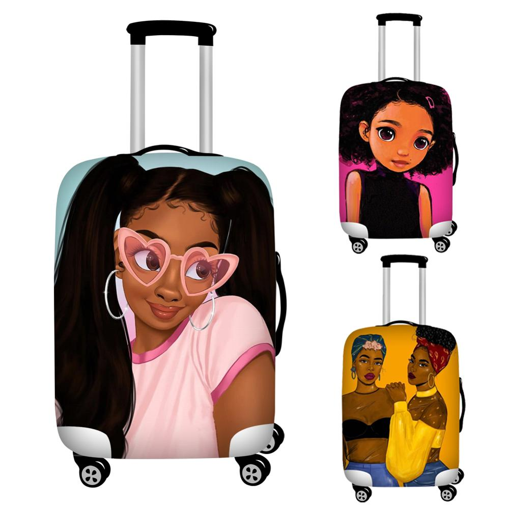 Nopersonality Art African American Girl Travel Luggage Covers Elastic Waterproof 18-32inch Travel Suitcase Cover Afro Lady