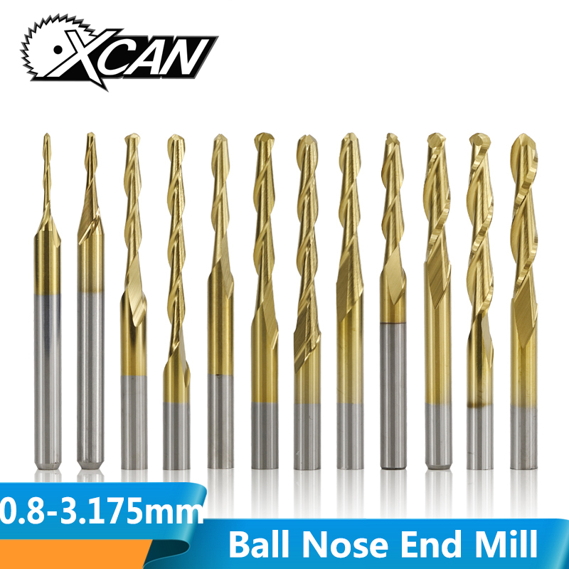 XCAN 10pcs 3.175mm Shank 0.8-3.175mm Titanium Coated Ball Nose End Mill Carbide Spiral End Milling Cutter CNC Router Bit