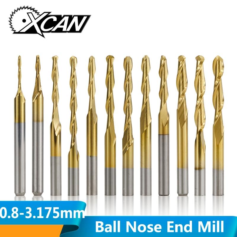 XCAN 10pcs 3.175mm Shank 0.8-3.175mm Titanium Coated Ball Nose End Mill Carbide Spiral End Milling Cutter CNC Router Bit