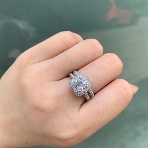 Image 5 - Newshe sólida plata 925 anillos de boda para mujeres 2,9 Ct corte cojín AAA CZ anillo de compromiso conjunto nupcial