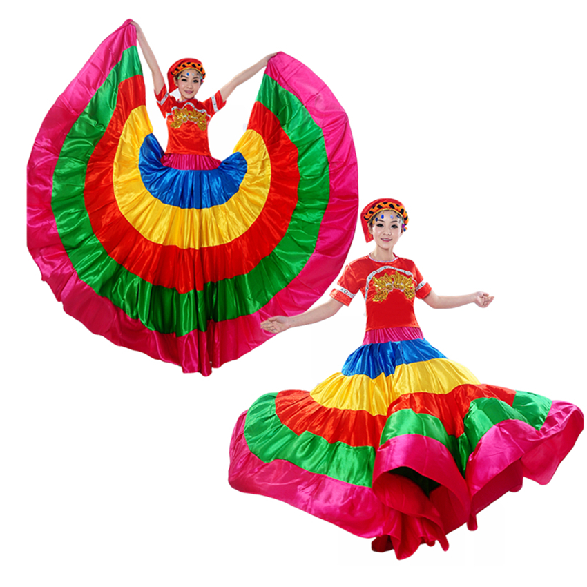 New Flamengo Spain Skirt Dance Costumes Gypsy Skirts Woman Stage Performance Chorus Wear Spanish Dress Bigdance Clothing