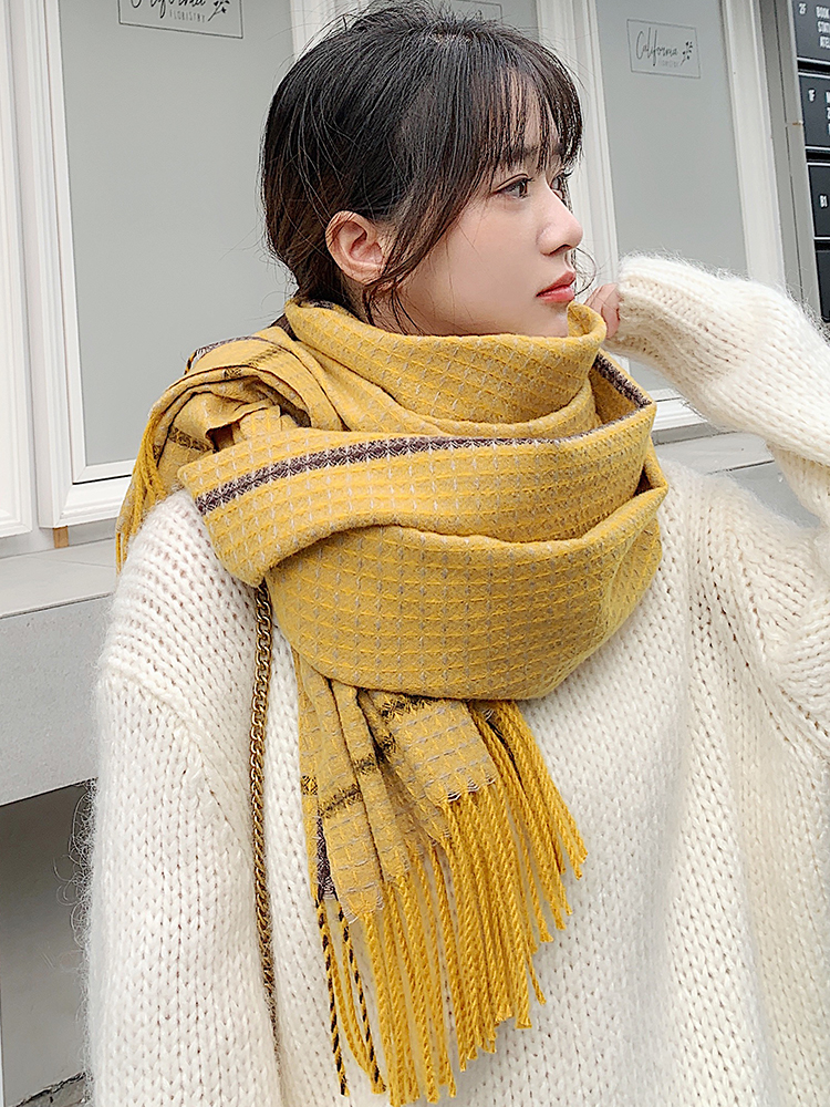 Brand Thousand Bird Scarf Women Fall Winter Versatile Student Style Cape Dual Purpose Leisure Thickened Warm Neck Korean Version