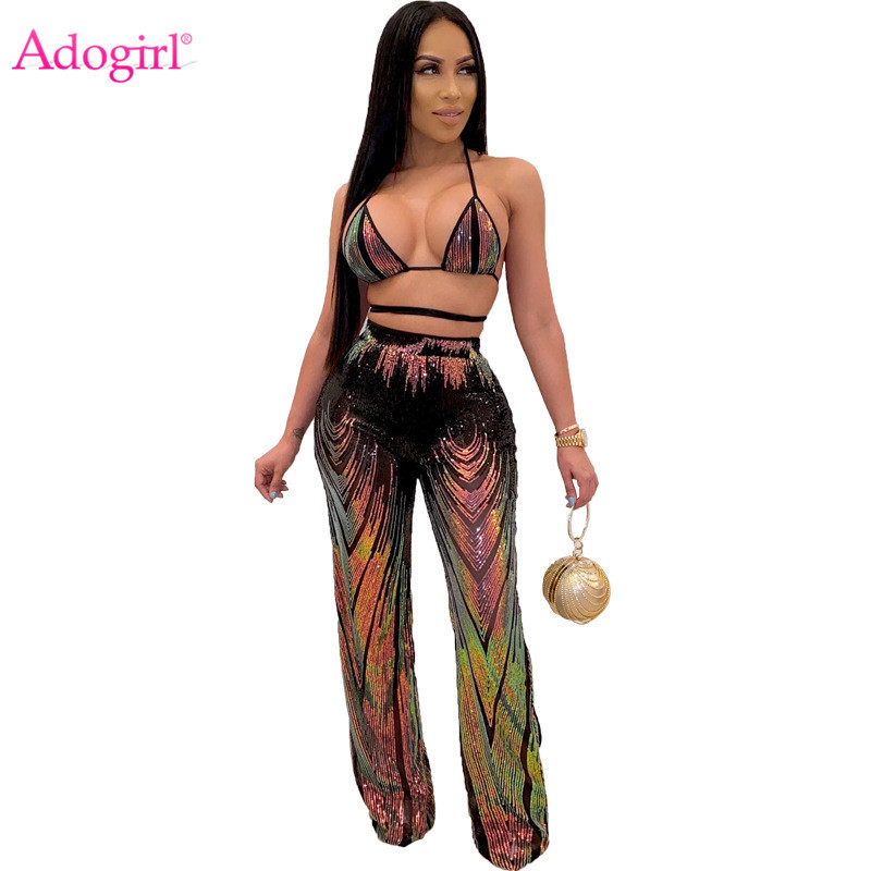 Adogirl Colorful Sequins Women Sexy Two Piece Set Bra Top Wide Leg Pants With Panties Female Night Club Suits Party Outfits