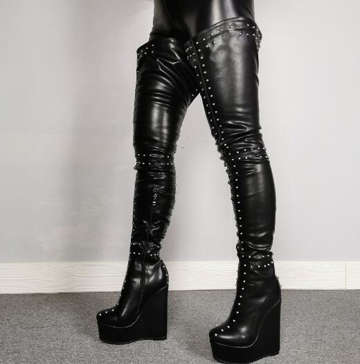 Linamong Black Matte Leather Rivets Thigh High Boots Woman Round Toe Studded Platform Wedges Over the Knee Long Boots