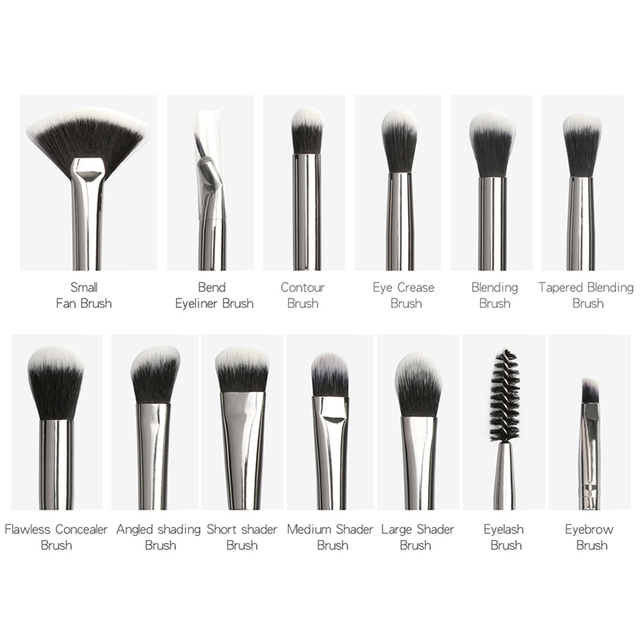 Pro Makeup Brushes Set 6/ 12 pcs Eye Shadow Concealer Blending Eyeliner Eyelash Eyebrow Blush Brushes Portable Eye Brush Set 1