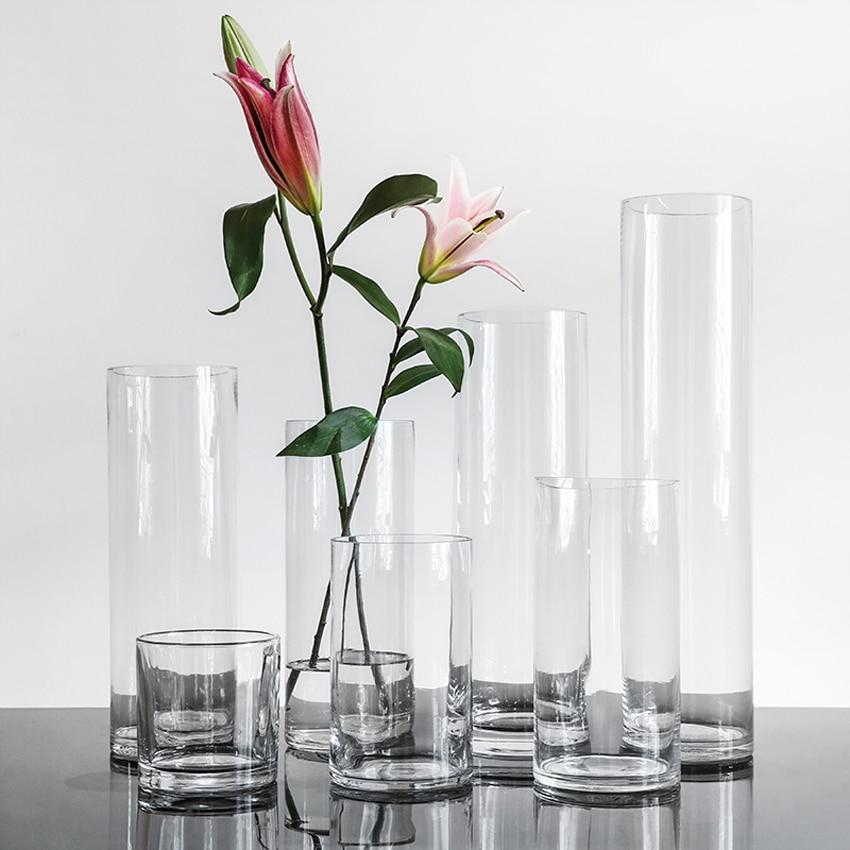 Clear Glass Flower Vase Modern Floral Table Display Centrepiece 26cm Cylinder