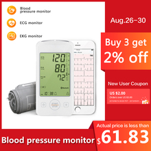 Home Health Care Digital Lcd Arm Blood Pressure Monitor with ECG monitor Machine for Measuring Automatic EKG tracing APP record цена