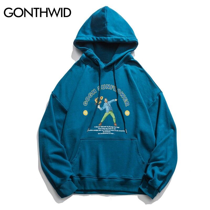 GONTHWID Funny Van Gogh Sunflower Print Hooded Sweatshirts Hoodies Streetwear Men Hip Hop Casual Pullover Tops
