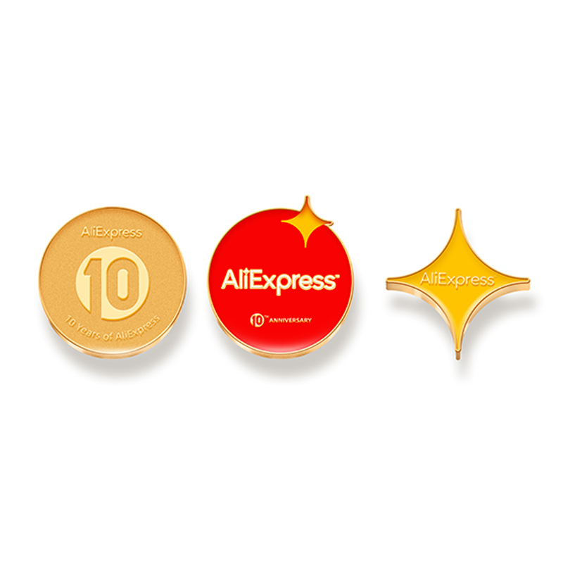 AliExpress 10th Anniversary Items -- Metal Badges, Pin, Badge, Merchandize, Frosted Surface